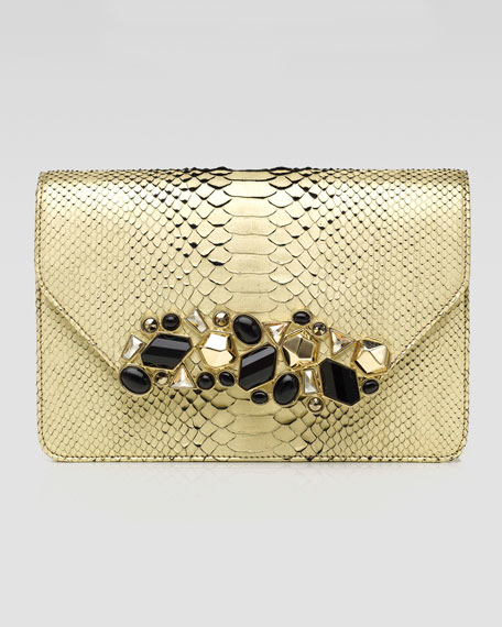 Luciana Metallic Python Clutch Bag, Champagne