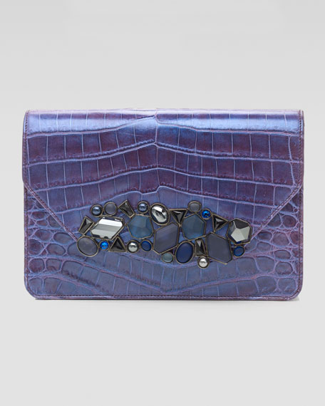 Luciana Iridescent Crocodile Clutch Bag, Purple