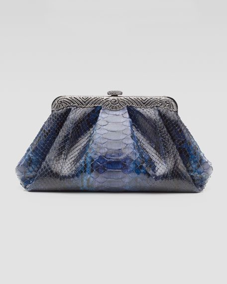 Victoria Ombre Python Clutch Bag, Purple/Blue