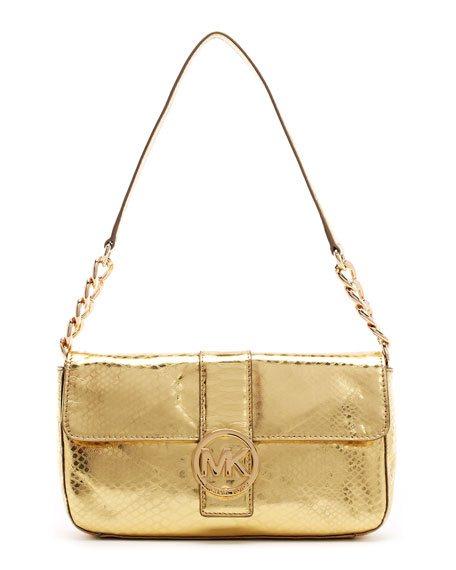 Fulton Python-Embossed Small Flap Bag