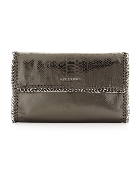 Oversize Chelsea Python-Embossed Clutch
