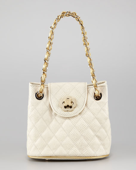 Liz Mini Quilted Shoulder Bag, Bone/Golden