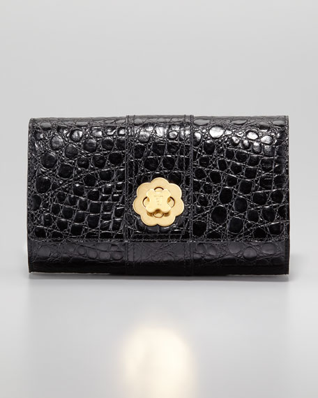 Slater Crocodile-Embossed Clutch Bag, Black