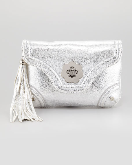 Metallic Mini Clutch Bag, Silver
