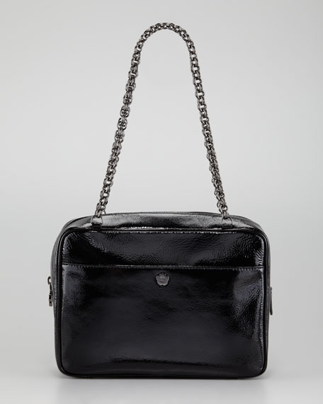 Carly Patent Shoulder Bag, Liquid Black