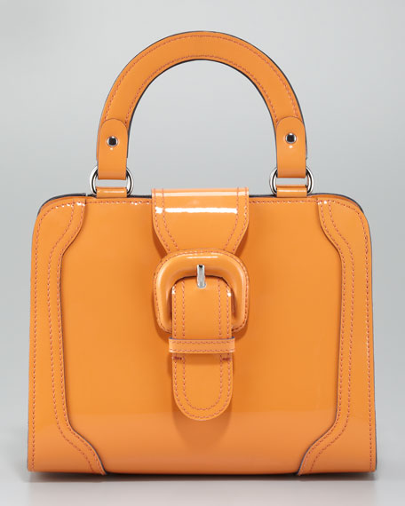 Double Handle Patent Leather Satchel Bag