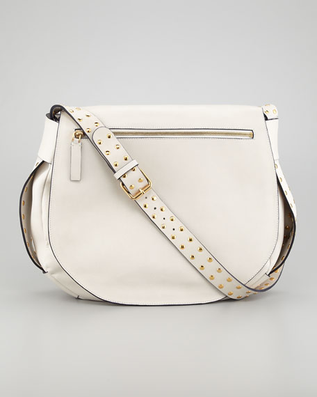 Studded Strap Messenger Bag, Shell