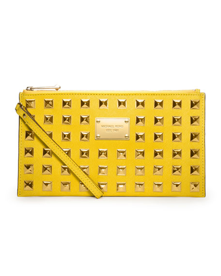 Large Pyramid-Stud Zip Clutch