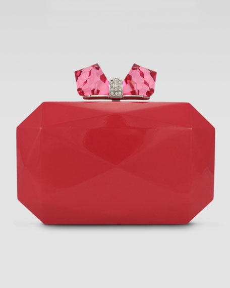 Danielle Faceted Enamel Minaudiere, Neon Pink