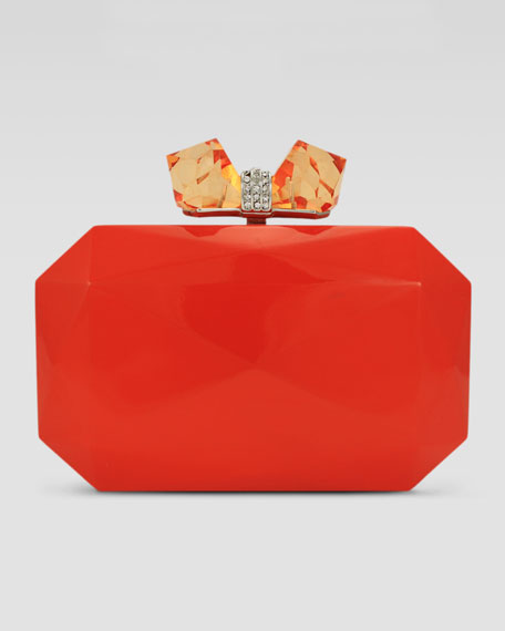 Danielle Faceted Enamel Minaudiere, Neon Orange