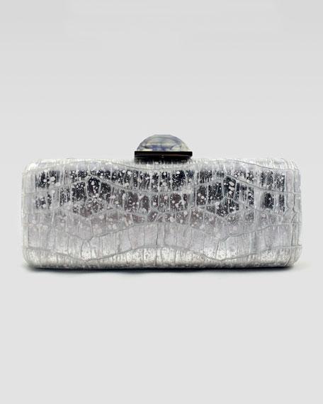 Jessica Crocodile-Embossed Metallic Clutch Bag