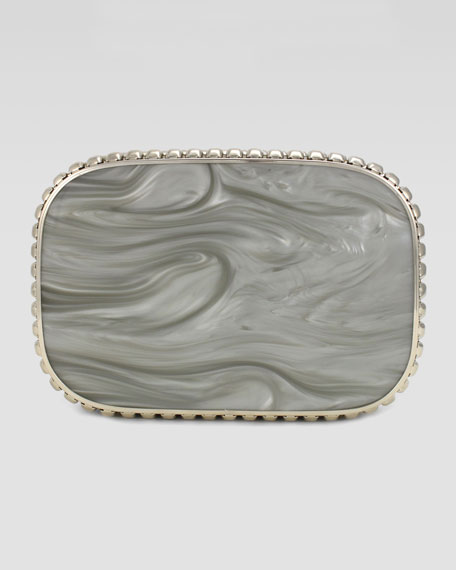 Cassandra Resin Quilted Clutch Bag, Gray