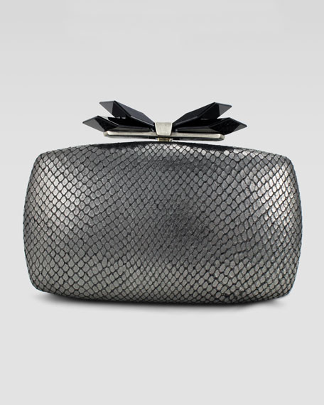 Avery Soft Embossed Clutch Bag, Gunmetal