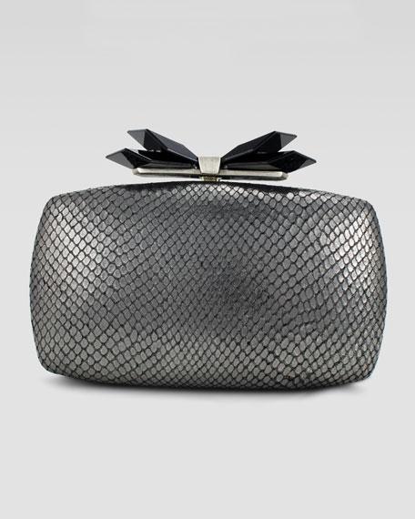 Avery Soft Embossed Clutch Bag, Gunmetal