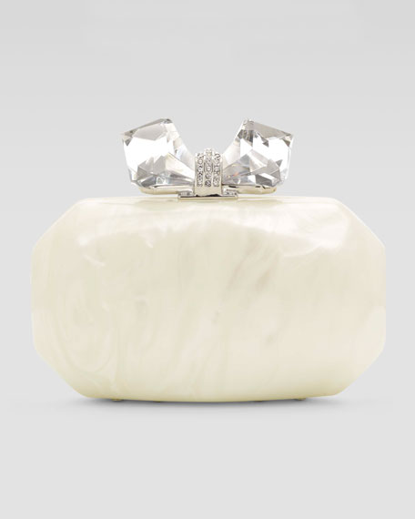 Hailey Large Faceted Resin Minaudiere, Cream