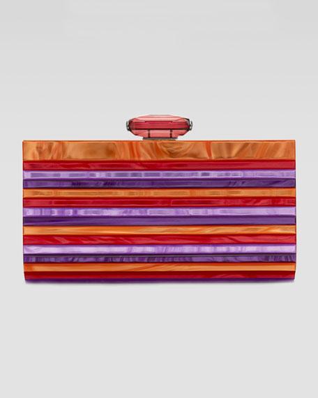 Monica Striped Resin Clutch Bag, Fuchsia