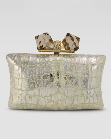 Vanessa Large Embossed Concave Clutch Bag, Gold