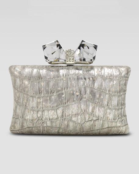 Vanessa Large Concave Clutch Bag, Silver