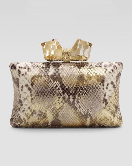 Vanessa Large Concave Clutch Bag, Gold