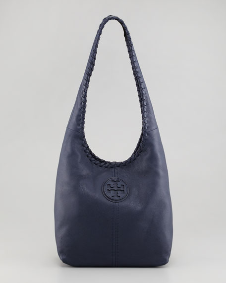 Marion Leather Hobo Bag, Navy