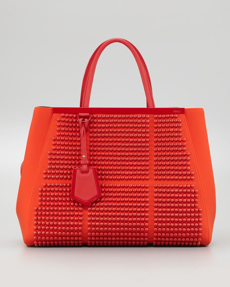 2Jours Studded Neoprene Medium Tote Bag, Red