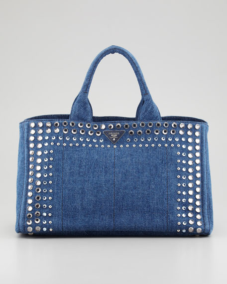 Studded Denim Gardener's Tote Bag, Blue