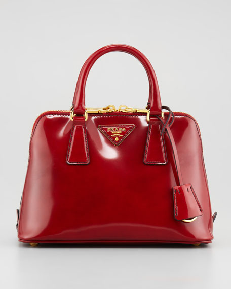 Spazzolato Promenade Satchel Bag, Red