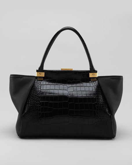 Trilogy Calfskin Tote Bag, Black