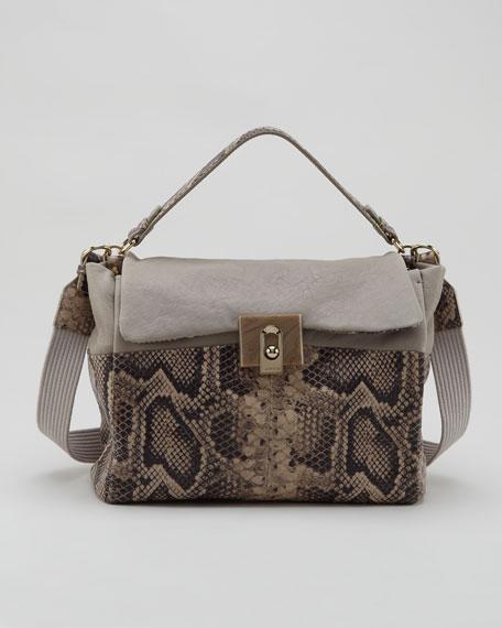 For Me Snake-Embossed Medium Bag, Gray