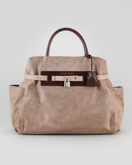 Padlock Satchel Bag, Dark Taupe