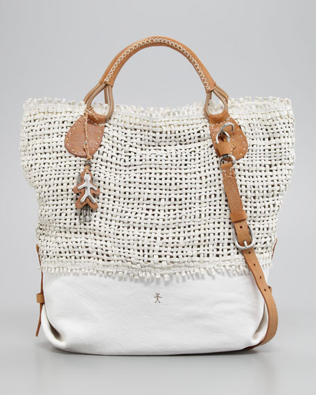Otre North-South Woven Leather Tote Bag, White