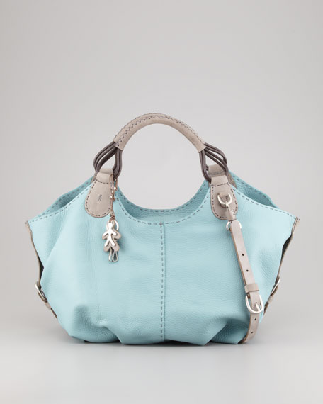 Lara Large Cervo Shoulder Hobo Bag, Blue
