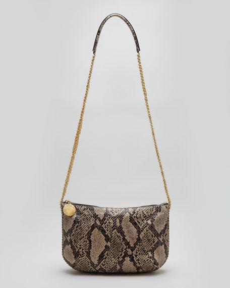 Faux Python Crossbody Bag, Nude