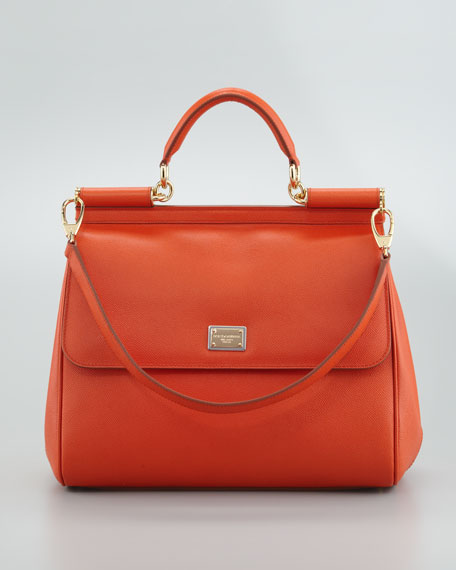 New Miss Sicily Leather Handbag, Orange