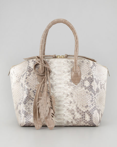 Crocodile & Glittered Python Satchel Bag, Natural
