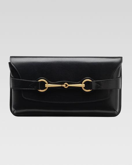 Bright Bit Leather Clutch Bag, Black