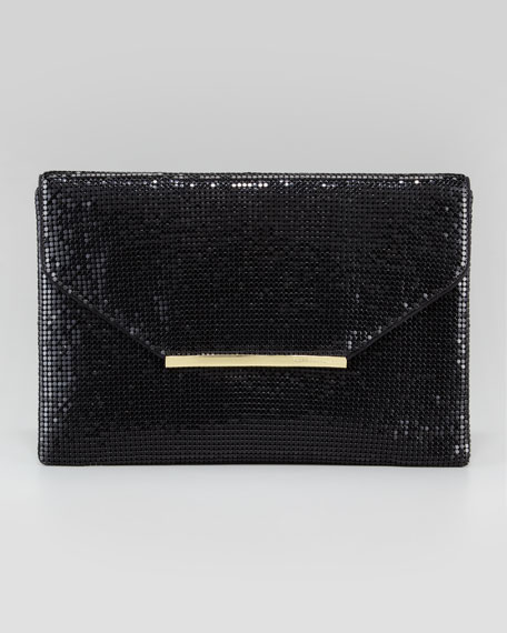 Harlow Metallic Chainmail Envelope Clutch Bag, Black