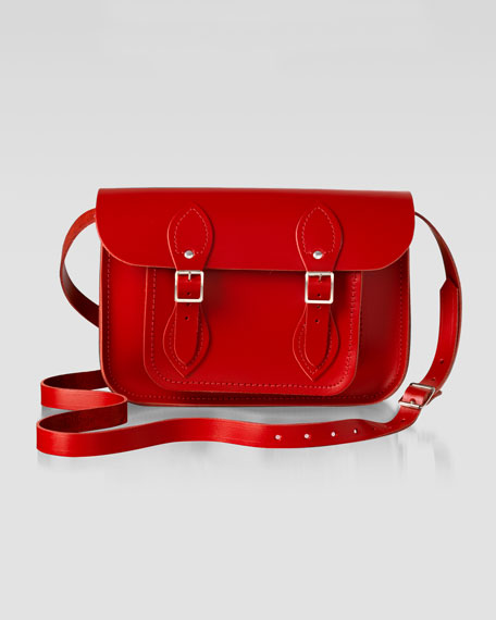 "11"" Leather Satchel, Red"