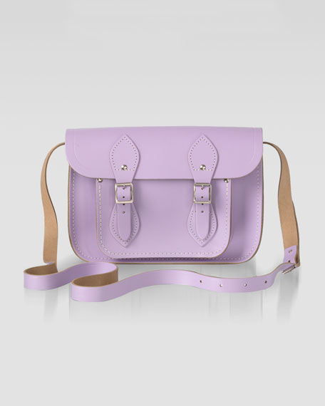 "11"" Leather Satchel, Lilac"