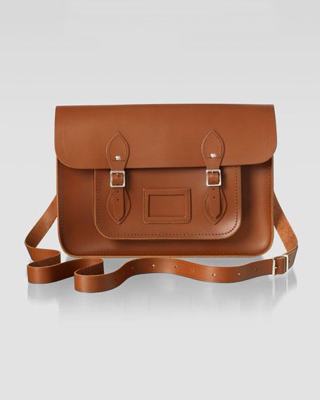 """15"""" Classic Leather Satchel, Vintage"""