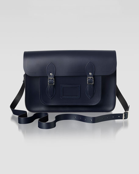 "15"" Classic Leather Satchel, Navy"