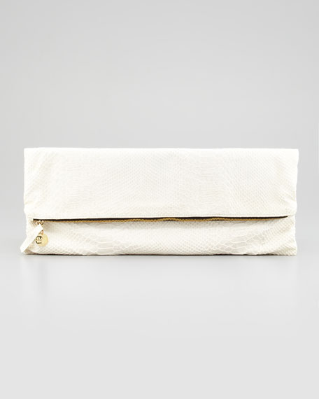 Snake-Embossed Fold-Over Clutch, White