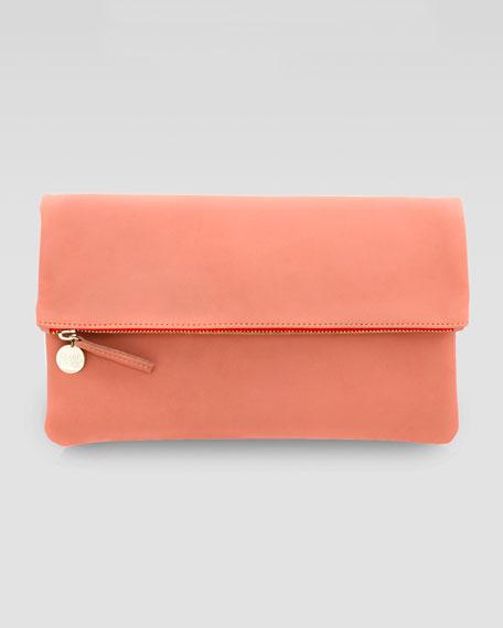 Calfskin Fold-Over Clutch, Peachy