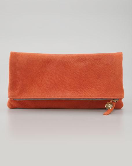 Nubuck Foldover Clutch, Orange