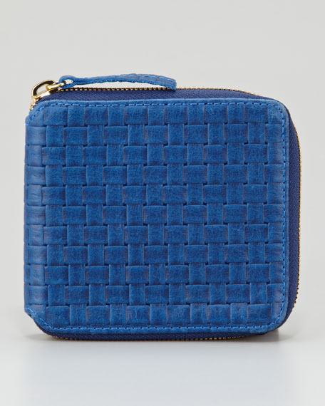 Basket-Weave Leather Half-Zip Wallet