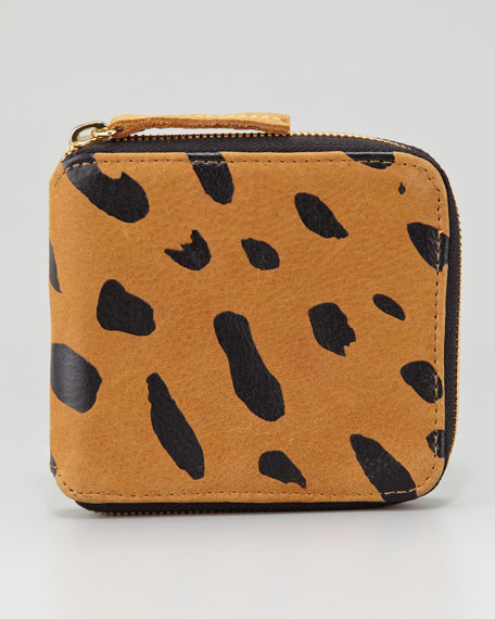 Jaguar-Print Leather Half-Zip Wallet