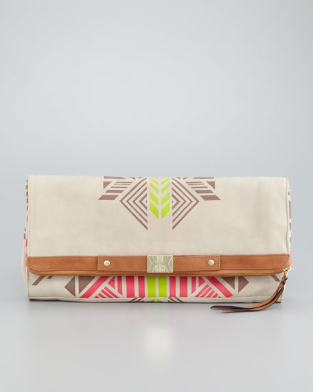 Tribal-Print Banker's Clutch Bag