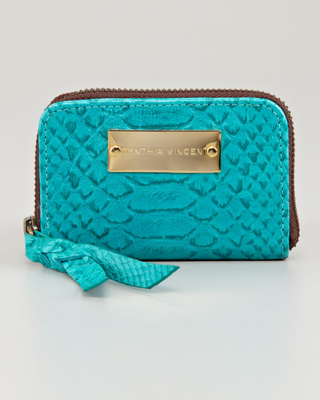 Embossed Coin Purse, Turquoise