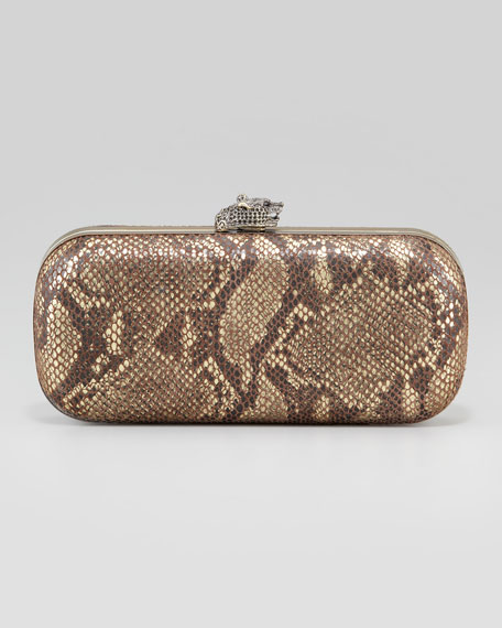 Addison Snake-Embossed Clutch Bag, Brown/Gold