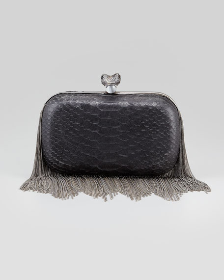 Jude Chain-Fringe Embossed Clutch Bag, Black